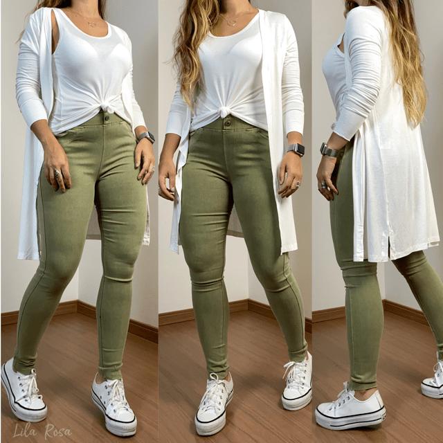 Conjunto Cardigan e t-shirt - Off White