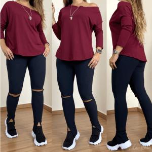 Blusa assimétrica manga longa - Bordô