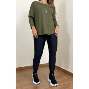Blusa assimétrica manga longa - Verde Militar