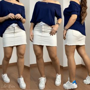 Blusa manga assimétrica - Azul Marinho