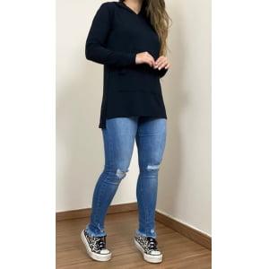 Blusa Moletinho Cangurú - Black