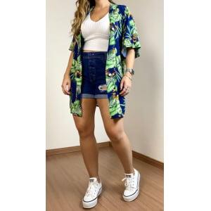 Kimono Tropical - Azul Marinho
