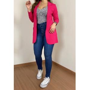 Maxi Blazer Malharia - Pink Pitaya