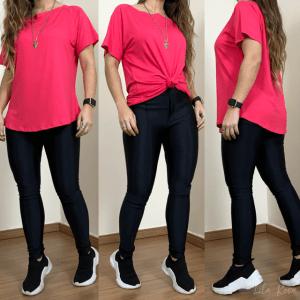T-shirt manga curta - Rosa Chiclete