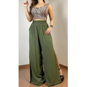 Calça Pantalona Fendada - Verde Militar