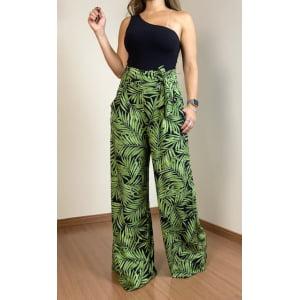 Calça Pantalona Folhas