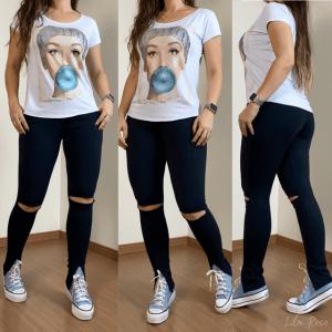 Calça Skinny Preta Destroyed