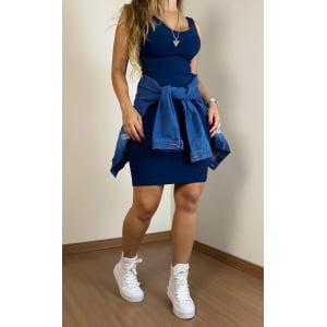 Vestido Canelado Azul Marinho Talita