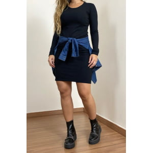 Vestido Canelado Manga Longa - Black