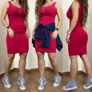 Vestido Canelado Talita - Pink