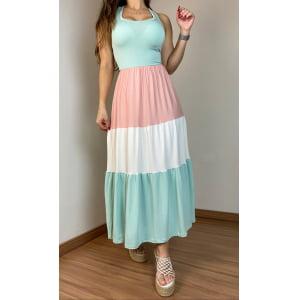 Vestido Color Block - Menta / Rosê / Off White