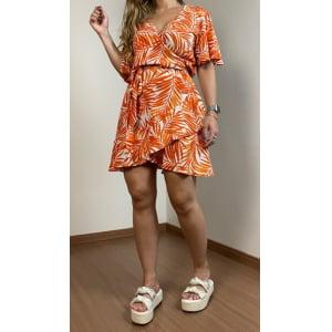 Vestido Folhas - Laranja Tropical