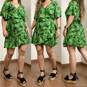 Vestido Folhas - Verde Tropical