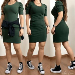 Vestido Manga Princesa Verde Militar