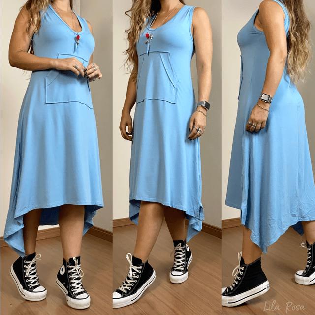 Vestido Mohana - Azul bebê